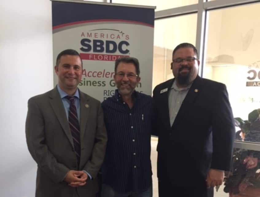 Billy Bishop Top Flight meeting with Congressman Soto and Carl Hadden SBDC